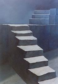 Luis Cabrera, «Conflicto sentimental», linóleo, grabado, 2000